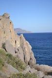 Widok skała dzika plaża Noviy Svet, Crimea fotografia stock