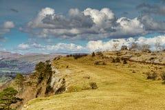 Widok Skautowska blizna, pasmo wapni wzgórza blisko Kendal Zdjęcie Royalty Free