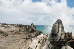 Widok smoka ` s zęby przy Makaluapuna punktem w Maui Hawaje Zdjęcie Royalty Free