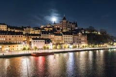 Widok Sodermalm nabrzeże w Sztokholm, Szwecja obraz royalty free