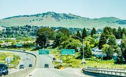 Widok sonoma napy vally krajobraz od samochodu na autostradzie obrazy stock