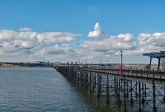 Widok South End na morzu od końcówki przyjemności molo w Essex obrazy stock