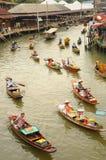 Widok Spławowy rynek, Amphawa, Tajlandia Zdjęcia Stock