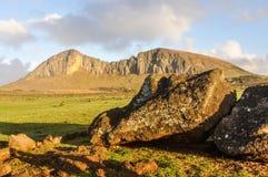 Widok Spadać Moai, Wielkanocna wyspa, Chile Obraz Royalty Free