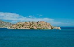 Widok Spinalonga wyspa, Grecja, Crete, panoramiczny Fotografia Royalty Free