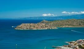 Widok Spinalonga wyspa, Grecja, Crete, panoramiczny Obrazy Stock