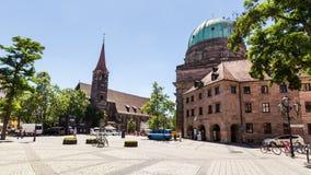 Widok St Elizabeth kościół w starej grodzkiej części Nuremberg Zdjęcie Royalty Free