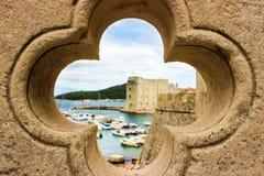 Widok St John ` s forteca od mosta, Dubrovnik fotografia royalty free