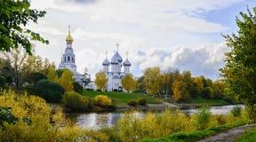 Widok St Sophia katedra i dzwonkowy wierza miasto Vologda Zdjęcia Stock