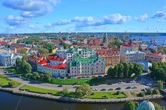 Widok Stara urząd miasta kwadratowa i dziejowa część Vyborg od St Olav& x27; s wierza w Vyborg kasztelu, Rosja Fotografia Stock