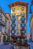 Widok stary Albergo Ristorante, Bergamo, Włochy Zdjęcie Stock