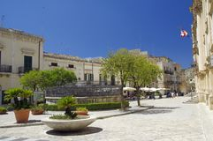 Widok stary centrum Scicli miasteczko, Unesco światowego dziedzictwa miejsce Obrazy Royalty Free