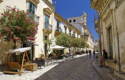 Widok stary centrum Scicli miasteczko, Unesco światowego dziedzictwa miejsce Obraz Royalty Free