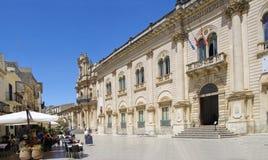 Widok stary centrum Scicli miasteczko, Unesco światowego dziedzictwa miejsce Obraz Stock