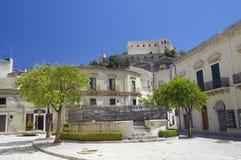 Widok stary centrum Scicli miasteczko, Unesco światowego dziedzictwa miejsce Obrazy Stock