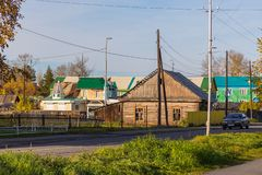 Widok stary drewniany dom w Milkovo, Kamchatka, półwysep, Rosja obraz royalty free