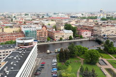 Widok stary Europejski miasto od wzrosta ptaka lot Święty Petersburg, Rosja, Północny Europa Zdjęcie Royalty Free
