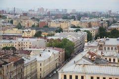 Widok stary Europejski miasto od wzrosta ptaka lot Święty Petersburg, Rosja, Północny Europa Obrazy Royalty Free