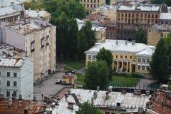 Widok stary Europejski miasto od wzrosta ptaka lot Święty Petersburg, Rosja, Północny Europa Fotografia Stock