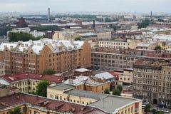Widok stary Europejski miasto od wzrosta ptaka lot Święty Petersburg, Rosja, Północny Europa Obraz Stock