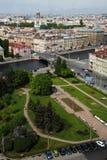 Widok stary Europejski miasto od wzrosta ptaka lot Święty Petersburg, Rosja, Północny Europa Obraz Royalty Free