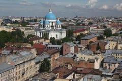 Widok stary Europejski miasto od wzrosta ptaka lot Święty Petersburg, Rosja, Północny Europa Zdjęcie Stock