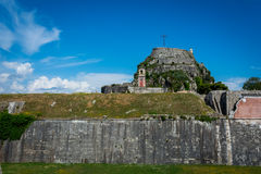 Widok stary forteca, Corfu wyspa, Grecja Fotografia Stock
