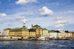 Widok stary grodzki Gamla Stan w Sztokholm Szwecja Obraz Stock