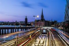 Widok stary grodzki Gamla Stan w Sztokholm Szwecja Obrazy Stock