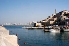 Widok stary Jaffa port w Izrael Zdjęcia Royalty Free