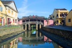 Widok stary japończyka most na Pogodnym ranku hoi Vietnam Zdjęcie Stock