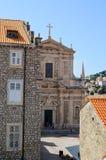 Widok stary kościół w Dubrovnik Starym miasteczku Zdjęcie Stock