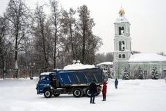 Widok stary kościół w Tsaritsyno parku Ciężarówka pełno śnieg Obraz Royalty Free