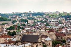 Widok stary mały miasto Lviv Zdjęcie Stock