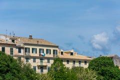 Widok stary miasteczko, Corfu, Grecja Zdjęcia Royalty Free