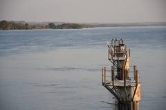 Widok stary port na Parana rzece w Ilha Solteira, Brazylia fotografia royalty free