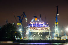 Widok statek w porcie Hamburg i Elbe Fotografia Royalty Free
