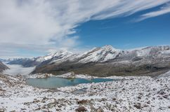 Widok Stausee jezioro blisko Saas opłaty w południowych Szwajcarskich Alps fr obrazy stock