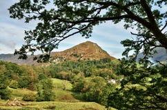 Widok Steru Crag, obramiający wśród obfitolistnych gałąź Zdjęcie Royalty Free