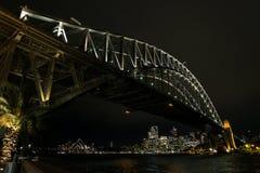 Widok Sydney miasta schronienie w Australia przy nocą Obraz Royalty Free