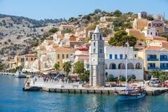 Widok Symi wyspa, Dodecanese, Grecja Obrazy Royalty Free