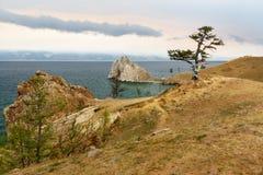 Widok szaman skała baikal jeziora baikal jezioro olkhon Rosji wyspy Rosja Obraz Royalty Free