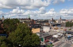 Widok Sztokholm od punktu obserwacyjnego Katarina ksyka Szwecja Fotografia Royalty Free
