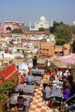 Widok Taj Mahal od dach restauraci w Taj Ganj neighb Obraz Stock