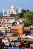 Widok Taj Mahal od dach restauraci w Taj Ganj neighb Obrazy Stock