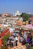 Widok Taj Mahal od dach restauraci w Taj Ganj neighb Zdjęcia Stock