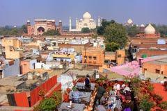 Widok Taj Mahal od dach restauraci w Taj Ganj neighb Zdjęcia Royalty Free