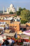 Widok Taj Mahal od dach restauraci w Taj Ganj neighb Fotografia Royalty Free