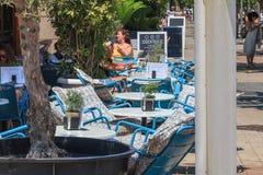 Widok taras cukierniana barceloneta plaża Zdjęcie Royalty Free