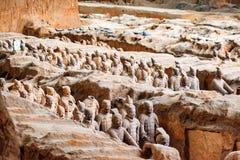 Widok Terakotowi wojownicy Qin Shi Huang mauzoleum Zdjęcie Stock